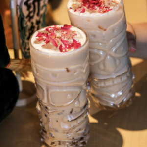 Lychee Milk Tea with Lychee Popping Pearls